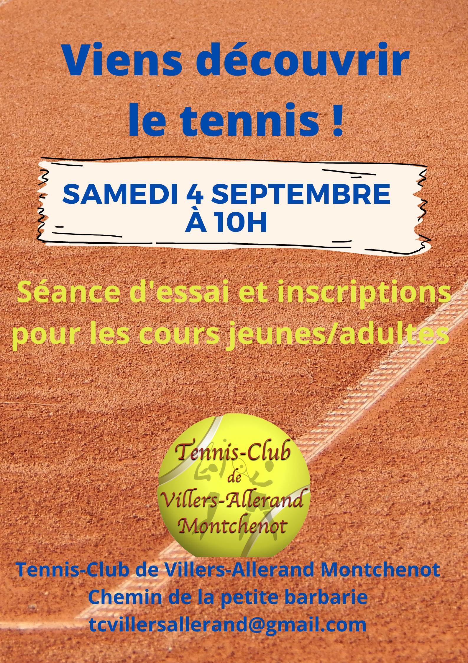 Tennis-Club : Essai et inscriptions cours @ Tennis-Club | Villers-Allerand | Grand Est | France